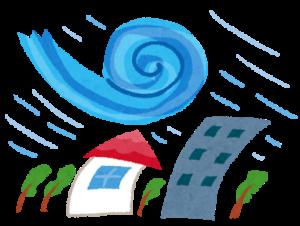 地震、台風、豪雨の給付金・補助金 台風がきた家とビル